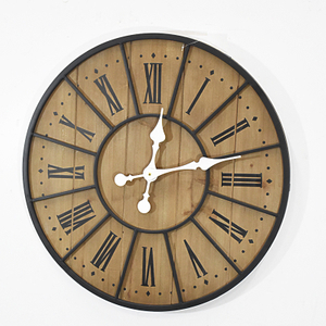 "Roman 23"" Rustic Black Metal Frame And Wooden Wall Clock"