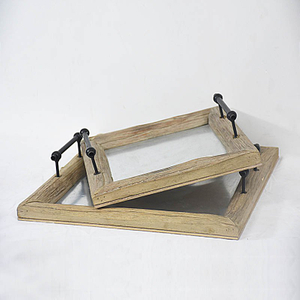 Rectangular Rustic Farmhouse Countray Style Home Wood Serving Tray with Handle