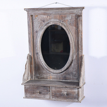 Antique vintage bathroom wall mirror with shelf