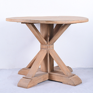 Pedestal French Antique Sturdy Rustic Solid Wood Round Dining Table