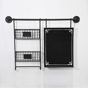 Vintage Metal Chalkboard And Baskets Wall Organizer