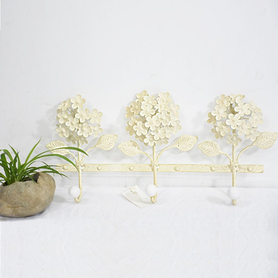 vintage Cream metal flower wall Mount Coat Rack