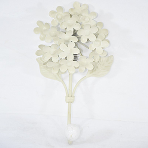 Antique Vintage Cream Metal Hydrangea Flower Coat Hook