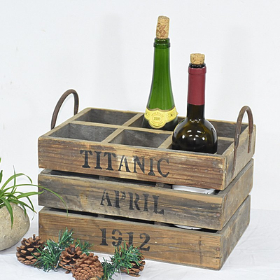Wholesale Metal Handles Farmhouse Decor Reclaimed Rustic Wooden Wine Crate