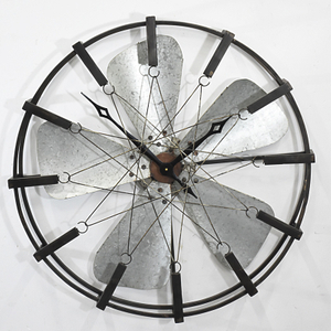 Home Fan Design large Round Decorative Metal Wall Clock