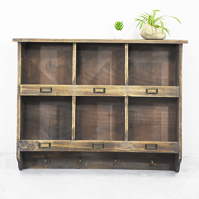 6 Slots Antique Rustic Wooden Wall Cube Shelf with Four Hooks
