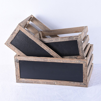 set 3 farmhouse handmade cheap wooden fruits crates with blackboard