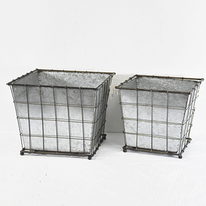 farmhouse square Chicken Wire Galvanized Metal Planter