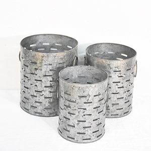 Vintage Farmhouse Galvanized Metal Olive Bucket Planters
