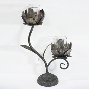 Vintage Flower Shape Votive Candle Holder Black