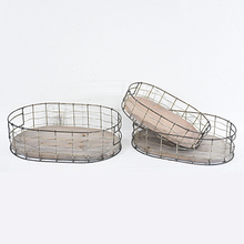 Europe simple wood and metal wire storage basket for kitchen organization