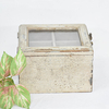 4 Compartments Glass Lid Rustic Shabby Chic Wooden Box