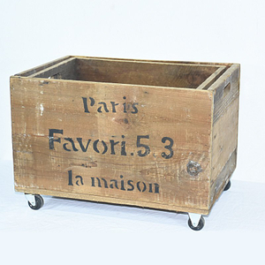 Vintage Old Lovely Recycle Wooden Storage Crates on Wheels