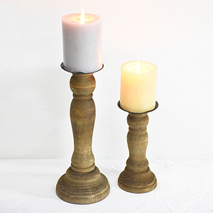 Beach Home Turquoise Rustic Wooden Pillar Candle Holders