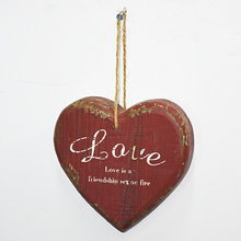 Mini Handmade Shabby Chic Vintage Hanging Wooden Heart Home Decoration