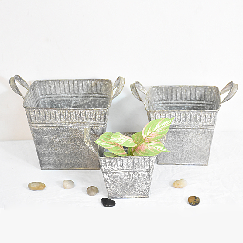 set 3 small Square Vintage Retro Galvanized Sheet Metal Planter Boxes