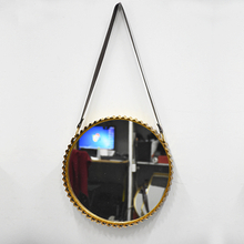 Antique French Golden Hanging Wall Mirrors Decorative with Corrugated Tin