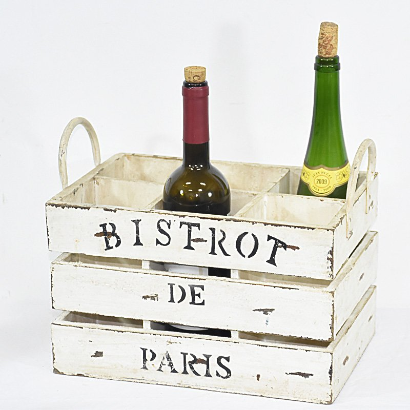 Vintage Shabby Chic White Wood Crate 6 Bottles Wine Holder