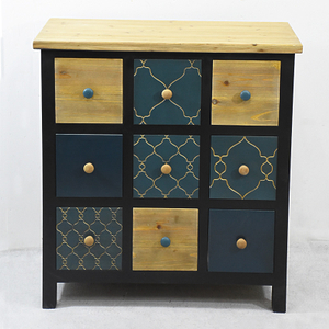 Urban Loft Retro wooden 9 Drawer Chest