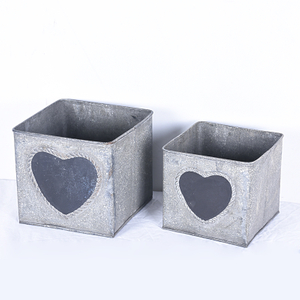 Shabby Chic Farmhouse Metal Storage Bins with Blackboard