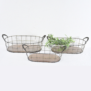 wholesale vintage Handy Oval Shaped wood and metal Wire Basket