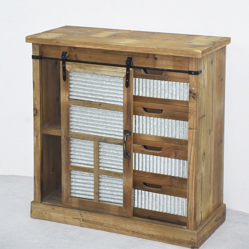 Beautiful Farmhouse Rustic Wooden Storage Cabinet with Corrugated Tin