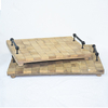 Set 2 Rustic Handmade Flat Wood Tray with Metal Handles