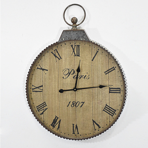 Wholesale Rustic Galvanized Metal And Wood Wall Clock