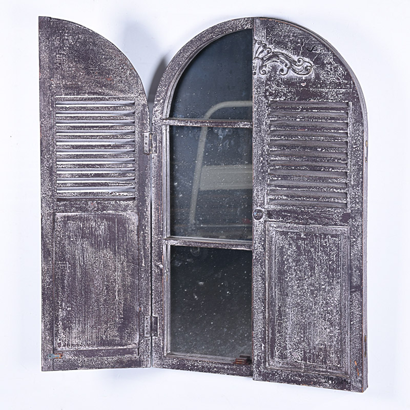 shabby chic framshoue distressed wooden Arched Window Mirror With Shutters