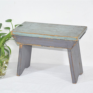 Shabby Chic Vintage Handmade Blue Small Wooden Stool