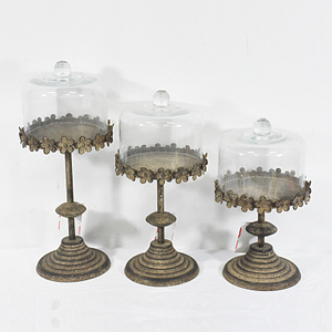 Set 3 Shabby Chic Vintage Metal Cake Stand with Glass Dome