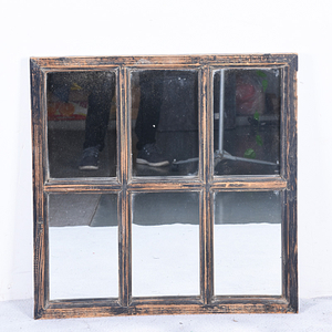 Vintage Rustic Balck Hanging 6 Opening Window Design Wholesale Framed Mirrors