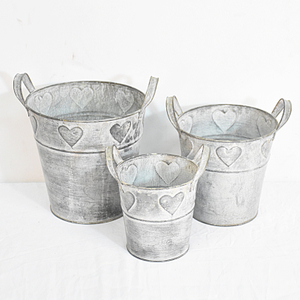 Rustic Cheap Mini Garden Galvanized Flower Pot Set