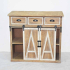 Vintage Rustic Solid Wood Sliding Door Storage Cabinet