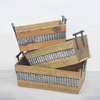 Stacking Set 3 Metal Handles Tapered Wooden Crate with Waved Zinc Details