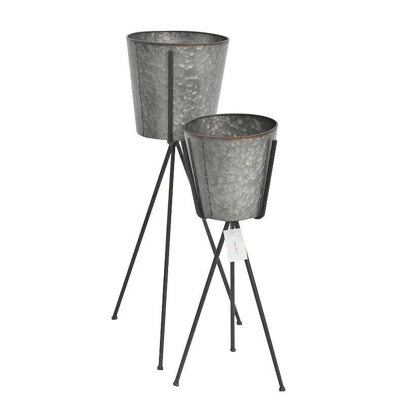 Living room wrought iron plant pot with stand