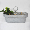 Antique Vintage Framhouse Style Metal Zinc Divided Planter with Handle