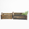 Rustic Country Style Reclaimed Wooden Crates Planter box with Metal Handle