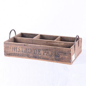 Vintage Wooden Crate Storage Box Milk Bottle Cutlery Holder Caddy