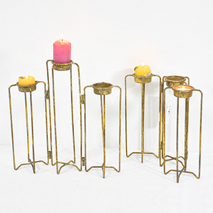 Vintage Simple Gold Metal Iron Candlesticks