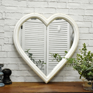Shabby Chic Rustic White Heart-Shaped Wooden Mirror Frame