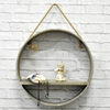 Rustic Round Rope Wood Shelf Floating Hanging Wall Unit, Vintage Antique Home Decor Shelves Wood Wall