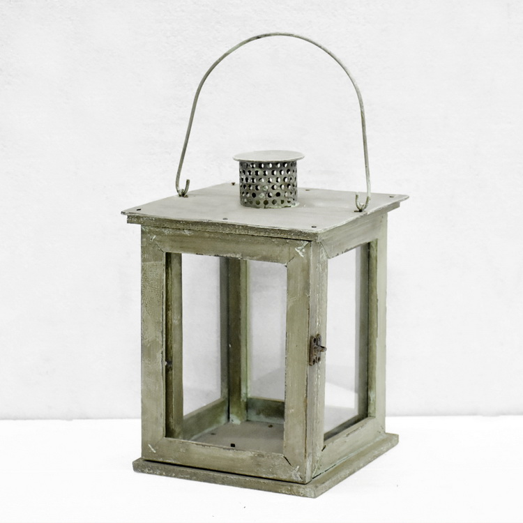 Luckywind Small Wooden Vintage Lantern Indoor Or Outdoor Decorative Lantern with Rustic Lantern Design