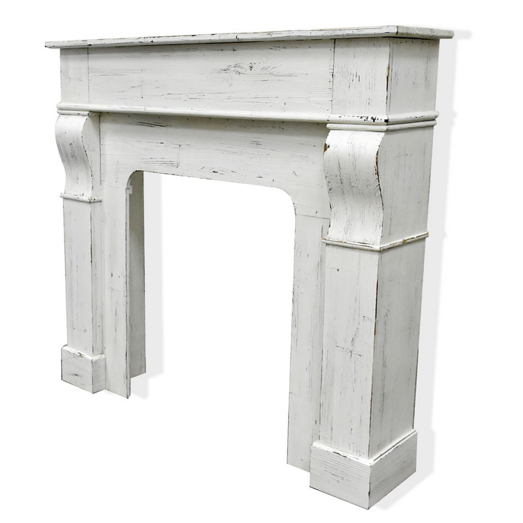 Luckywind Rustic Farmhouse French Style Decorative Distressed White Wooden Fireplace Mantel Surround For Living Room